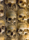 Wall full of skulls and bones in the bone chapel in evora portugal Royalty Free Stock Photography