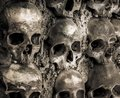 Wall full of skulls and bones in the bone chapel in evora portugalhe bone chapel in evora portugal Royalty Free Stock Photography