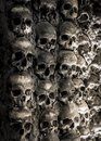 Wall full of skulls and bones in the bone chapel in evora portugalhe bone chapel in evora portugal Stock Images