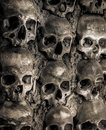 Wall full of skulls and bones in the bone chapel in evora portugalhe bone chapel in evora portugal Stock Photography