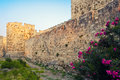 Wall of knights grand master palace in medieval town of rhodes greece Royalty Free Stock Photo