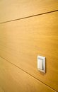 Wall with light switch detail closeup of wooden Stock Photo
