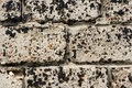 Wall made of concrete blocks, stained black resin Royalty Free Stock Photo