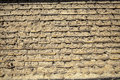 Wall made up of mud brick and soil instead cement or mortar Stock Photo