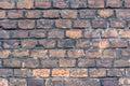 Wall of old rough bricks. Close up view. Royalty Free Stock Photo