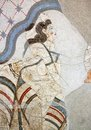 Wall painting of the House of the Ladies depicting a woman from Akrotiri Minoan Settlement, Greece Royalty Free Stock Photo