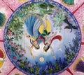 Wall painting of lord krishna and radha dancing Royalty Free Stock Photo