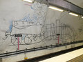 The wall painting in Stockholm underground