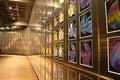 Wall of paintings at mona art museum tasmania Stock Photography