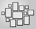 Wall picture frame templates isolated on white background. Blank photo frames with shadow and borders vector