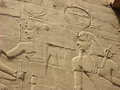 Wall relief at karnak temple luxor egypt egyptian art the complex detail of on the Stock Photography