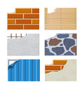 Wall set of building icons eps illustration on white background Stock Photo