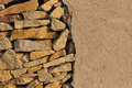 Wall of stones and loam Royalty Free Stock Photo