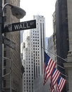 Wall street and broadway street signs Royalty Free Stock Photo