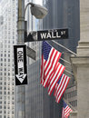 Wall Street corner with one-way sign Royalty Free Stock Photos