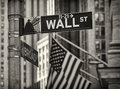 The wall street in new york city famous usa Royalty Free Stock Photography