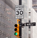 Wall Street road sign in NY Stock Exchange Royalty Free Stock Photography