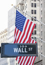 Wall Street sign in front of Stock Exchange. Royalty Free Stock Photo