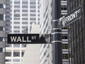 Wall street sign st with tall buildings in the background Royalty Free Stock Images