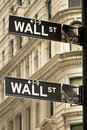 Wall Street signent dedans New York City Image libre de droits