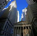 Wall street,  skyscrapers in Manhattan Royalty Free Stock Photo