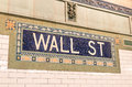Wall Street subway mosaic sign - New York City underground Royalty Free Stock Photo