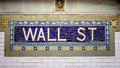 Wall street subway sign tile pattern in new york city manhattan station Royalty Free Stock Photography