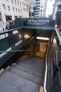 Wall street subway station new york city entrance at in nyc on october owned by the nyc transit authority the system has stations Royalty Free Stock Photo