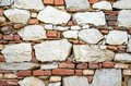 Wall texture old weathered stone and brick combined Royalty Free Stock Photo