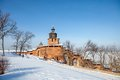 The wall and tower of the nizhny novgorod kremlin clock in sunny winter day Royalty Free Stock Photos