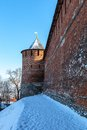 The wall and tower of the nizhny novgorod kremlin russia Stock Photo
