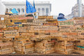 Wall unity and solidarity kiev ukraine dec mass protest in ukraine symbolic from wooden logs protesters gathered in kiev names of Stock Images