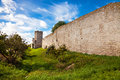Wall of visby ancient the medieval town in gotland sweden Royalty Free Stock Photography