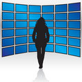 Wall of Widescreen TVs Royalty Free Stock Photo