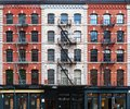 Wall of windows on buildings in Tribeca New York City Royalty Free Stock Photo