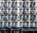 Wall of windows on an old apartment building in the Lower East S Royalty Free Stock Photo