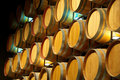 A Wall of Wine Barrels Royalty Free Stock Photo