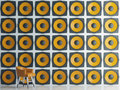 Wall of yellow speakers, 3d illustration Royalty Free Stock Photo