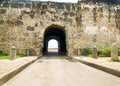 Walled city of cartagena tunnel colonial puerta de santo domingo at de indias colombia Stock Images