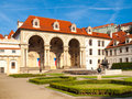 Wallenstein palace, the seat of Senate of Czech Republic, on sunny day. View from Wallenstein garden, Lesser Town Royalty Free Stock Photo
