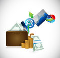 Wallet business concept illustration design over a white background Royalty Free Stock Image