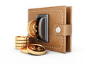 Wallet and coins Royalty Free Stock Photo