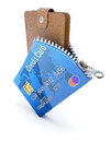 Wallet in the credit card d concept with zipper and Stock Image