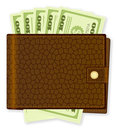 Wallet with dollar banknote Stock Photos