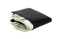 Wallet with dollar banknotes Stock Images