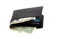 Wallet with dollar banknotes Stock Photos