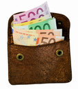 Wallet with euro notes Stock Photography