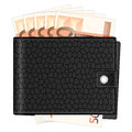Wallet with fifty euro banknotes on a white background Stock Photos