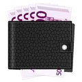 Wallet with five hundred euro banknotes Royalty Free Stock Photography