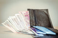 Wallet full of Argentinian bills and credit cards. Royalty Free Stock Photo